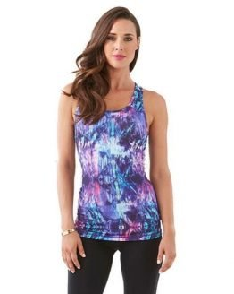 Bayse Kaleidoscope Womens Training Racer Tank Top - Purple/Blue