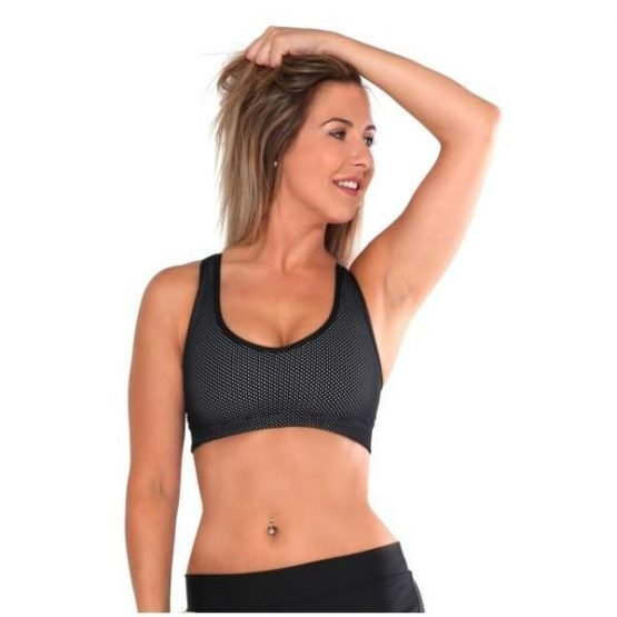 Rhapso Designs Anchor Power Mesh Womens Crop Top - Black