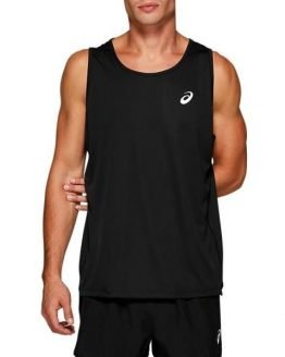 Asics Silver Mens Running Tank Top - Performance Black/Brilliant White