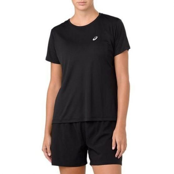Asics Silver Womens Short Sleeve Running T-Shirt - Black