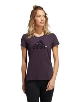 Adidas Glam On Badge Of Sport Logo Womens Training T-Shirt - Noble Purple