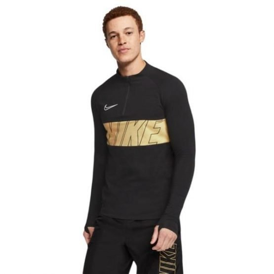 Nike Dri-Fit Academy Mens Soccer Drill Top - Black/Jersey Gold/White