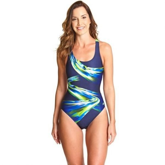 Zoggs Ecolast+ Power Actionback Womens One Piece Swimsuit - Navy/Multi
