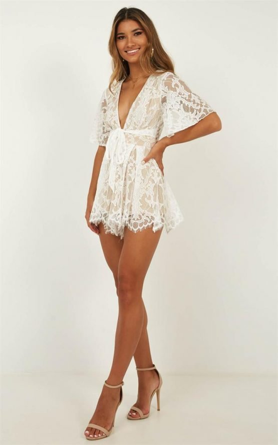 Showpo Break the Bar playsuit in white lace - 10 (M) Floral Playsuits