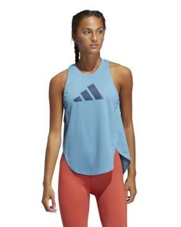 Adidas 3 Bar Logo Womens Training Tank Top - Hazy Blue/Crew Navy