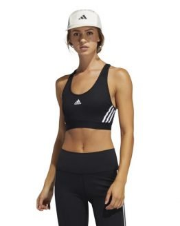 Adidas Believe This 3-Stripes Medium Support Rib Womens Sports Bra - Black/White