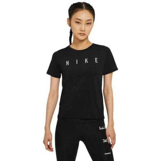 Nike Dri-Fit Run Division Miler Womens Running T-Shirt - Black/Reflective Silver