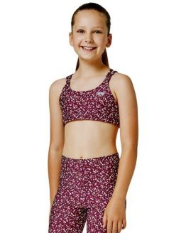 Running Bare Lotus Kids Girls Sports Bra - Mad Claret