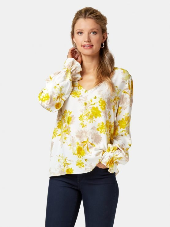 Evie Printed Blouse White/Yellow Floral