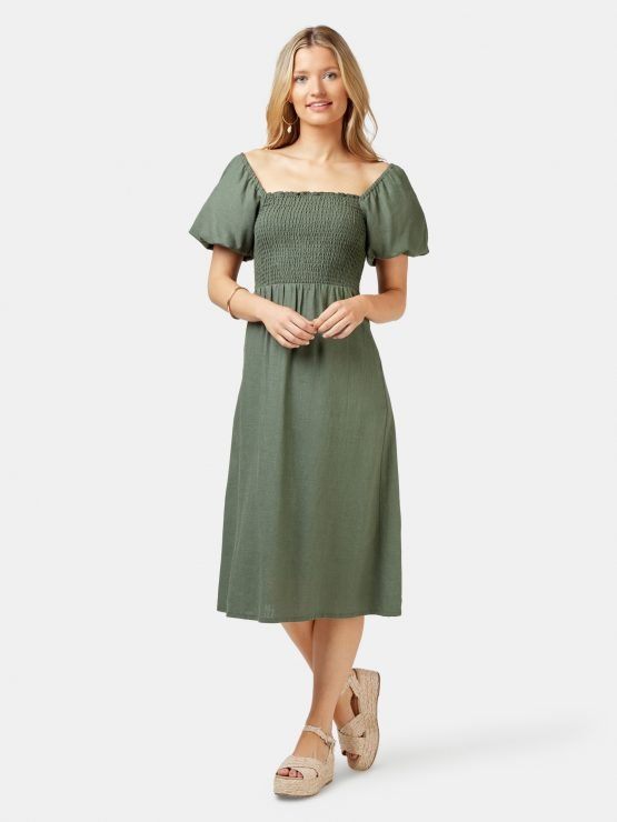 Reese Shirred Bust Dress Thyme