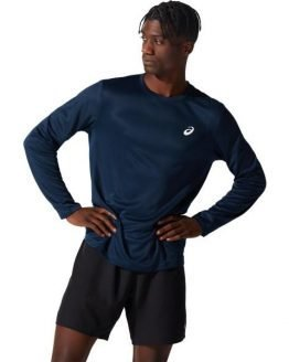 Asics Silver Mens Long Sleeve Running Top - French Blue