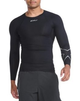 2XU Core Compression Mens Long Sleeve Running Top - Black/Silver