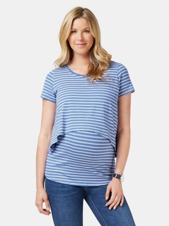 Cerese Layered Maternity Top White /Blue Stripe