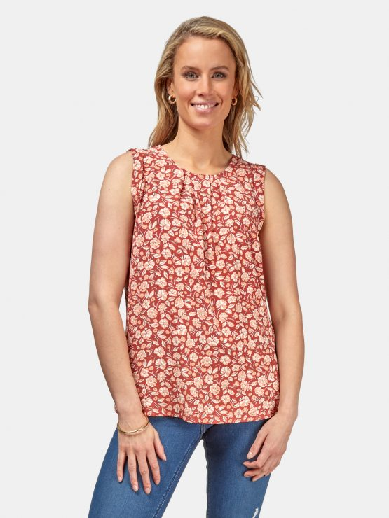 Emily Pleat Front Top Terracotta Floral