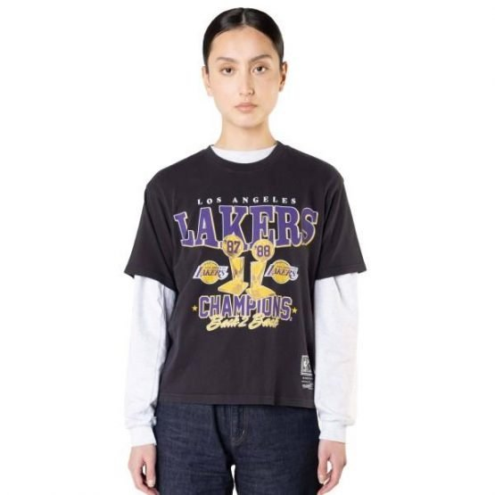 Mitchell & Ness Los Angeles Lakers Vintage Champs Trophy Basketball T-Shirt - Faded Black