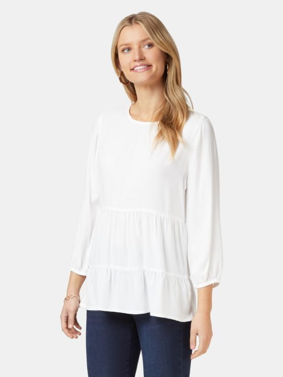 Olivia Long Sleeve Tiered Top White