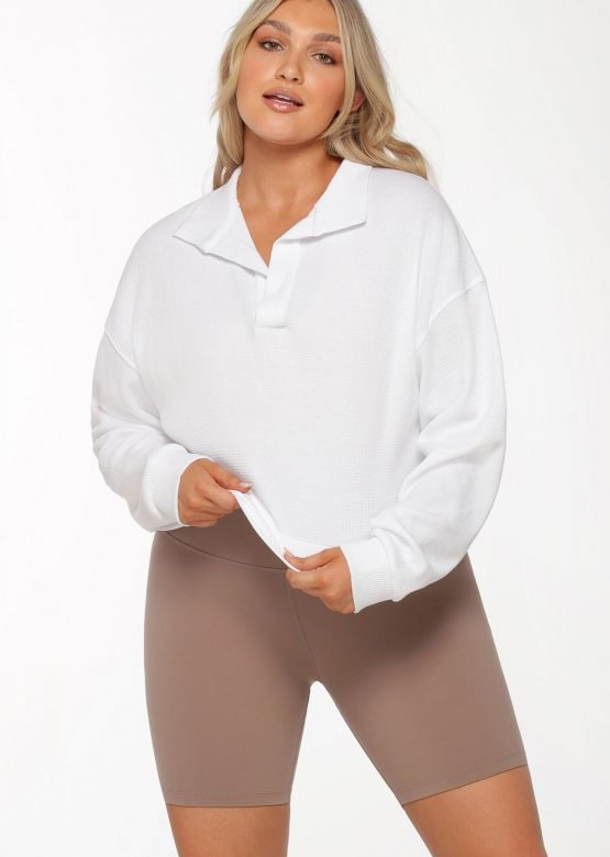 Polo Cropped Long Sleeve Top