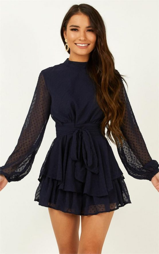Showpo Bottom Of Your Heart Playsuit in Navy - 04 Long Sleeve
