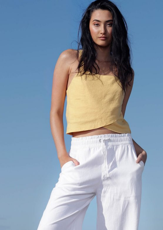 Suns Out Luxe Linen Cropped Top